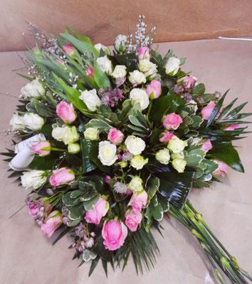 D14Gerbe piquée blance et rose pastel