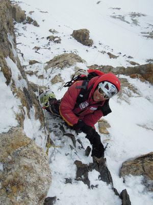 Gerlinde im Steilaufschwung kurz vor der Felsschulter © R. Dujmovits