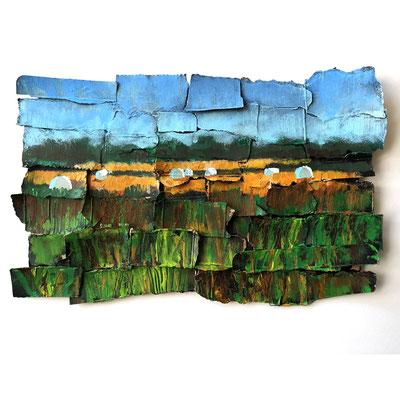 STRAW BALES -  SUMMER NEAR BUCKOW     2021    COLLAGE   ACRYL AUF PAPPE   ca. 31,1 x 20,5 cm