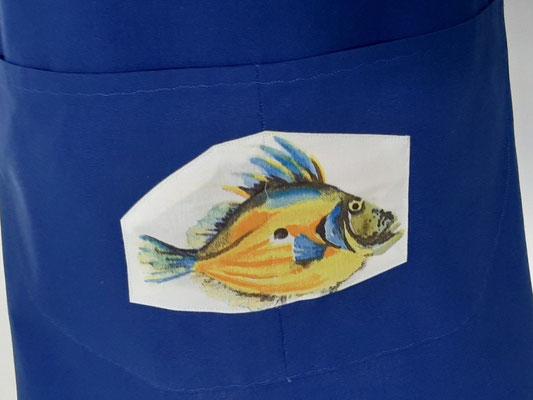 Tablier de cuisine bleu poissons animaux fabrication française