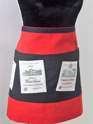 Bas de tablier de cuisine rouge et noir étiquettes de vin