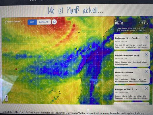 """... kann ich nun auch die aktuelle position und das Wetter anzeigen lassen ... wie hier noch auf der """"Plan B"""" in der Mitte des Atlantik!"""