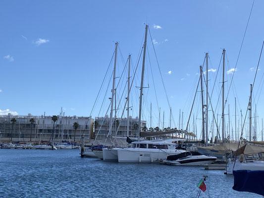 """Ansonsten ist es sehr ruhig hier in """"meiner Ecke"""" der Marina Lagos ... nur zwei andere Boote am Steg sind bewohnt .. sonst alles leer ..."""