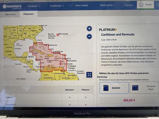 """Auch die elektronische Seekarte """"Karibik"""" für den Kartenplotter ist angekommen ..."""
