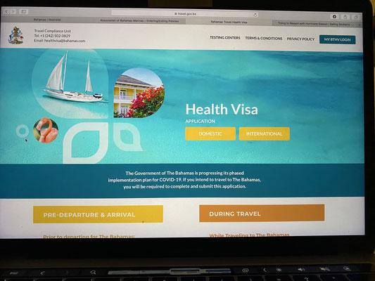 """Nachdem ich die Ergebnisse für den Covid / PCR Test erhalten hatte, habe ich direkt ein """"Health Visa"""" für die Bahamas beantragt ... Einreise geht jedoch nur mit einem max. 5 Tage alten PCR Test ... bei 7 Tage Segelreise bis Nassau wird das schwierig :o("""