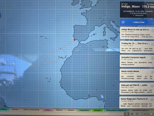 Da ich das Iridium Go vom Boot retten konnte bevor es untergegangen ist, denkt die Tracking-Software nun, dass ich mit knapp 180 Knoten von der Mitte des Atlantik zurück nach Lagos gesegelt bin ... nicht schlecht :o)