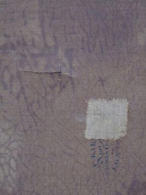 Estado inicial. Reverso. Detalle de rotura del lienzo y parche de tela.