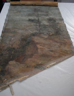 """""""Paisaje"""", de Eugene. Óleo/lienzo clavado a muro (escalera). 125,5 x 69 cm. Estado inicial."""
