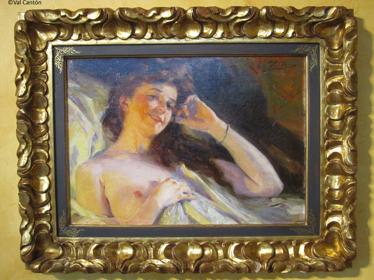 """""""La modelo"""", de Ulpiano Checa.  S. XIX-XX. Óleo/lienzo.  46 x 65, 5 cm. Obra en depósito en Museo Ulpiano Checa. Estado inicial."""