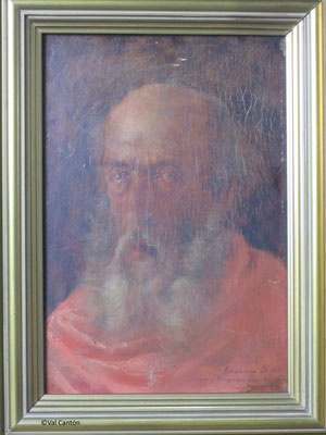 """""""Retrato de anciano"""", de Rosario Buer? Fernandez de la Hoz. Óleo/tabla. Estado inicial."""