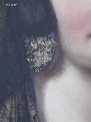 Estado tras la eliminación de repintes que ocultaban pintura original.