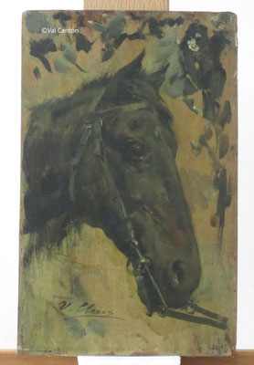"""Estudio de cabeza de caballo"", de Ulpiano Checa. Óleo/tabla. Museo Municipal Ulpiano Checa.Estado inicial."