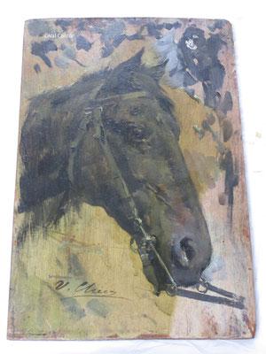 """""""Estudio de cabeza de caballo"""", de Ulpiano Checa. Óleo/tabla. Limpieza de la capa pictórica. Eliminación de barnices oxidados."""