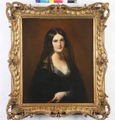 """Retrato de dama"", de Julius Jacob. Ó/lienzo. S. XIX. Estado inicial."
