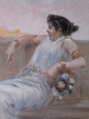 """""""Pareja romana"""", de Ulpiano Checa. Óleo/lienzo. Estado final. Detalle."""