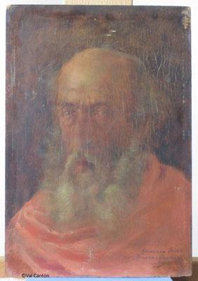 """""""Retrato de anciano"""". Estado inicial tras desmontaje del marco."""