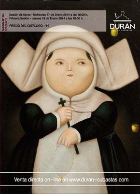 """Madre superiora"", de Fernando Botero. Imagen de portada en catálogo Durán. Lote 154. Subasta Nº 504. Enero/2014. Obra adjudicada."