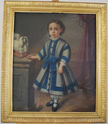 """""""Retrato de niño"""". Anónimo. Óleo/lienzo. S. XIX. Lienzo: 84,6 x 70,2 cm. Marco: 100,5 x 87 cm."""