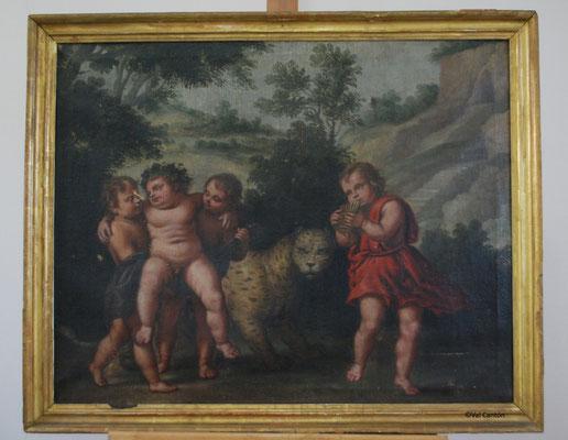 """""""""""Escena de niños con guepardo"""". Serie de 4. Anónimo. Óleo/lienzo. S. XVII. Lienzo 68 x 85 cm. Marco 76 x 93 cm. Estado inicial."""