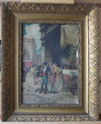 """""""Día de fiesta"""", de Ángel Lizcano. Óleo/lienzo. Colección particular. Estado inicial."""