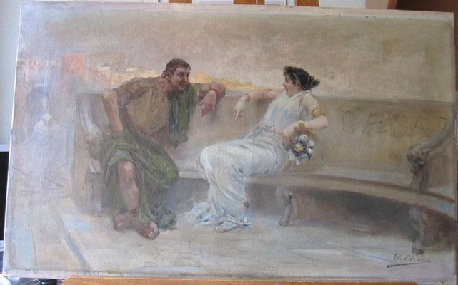 """Pareja romana"", de Ulpiano Checa. Óleo/lienzo. Colección particular. Estado inicial."