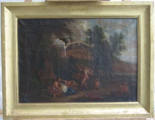 """""""Bacanal"""". Anónimo. Óleo/lienzo. Museo Nacional del Prado (P03849), en depósito en MAEC. Estado inicial."""