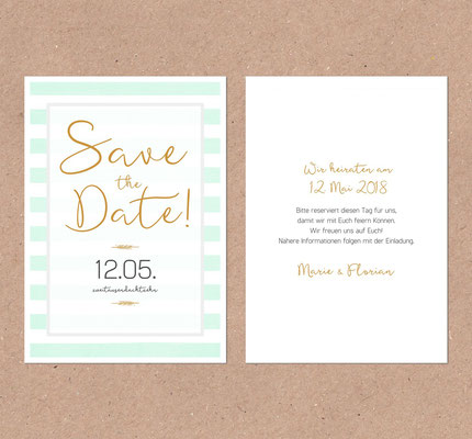 Save the Date Karte (Juhu Papeterie, Karlsruhe, Deutschland, Sorbet, mint, peach, rosa, gold, modern, elegant)