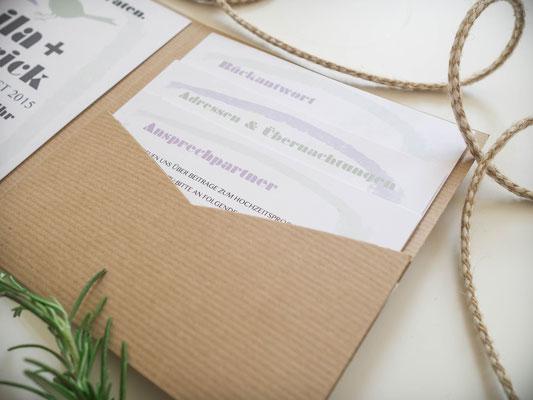 Pocketfold-Einladung mit 3 Einlegern (Juhu Papeterie, Hochzeitsset, Kraftpapier, moosgrün, Lavendel, Vintage, Hochzeitseinladung)