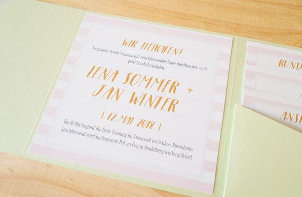 Pocketfold-Einladung in hell grün und rosa