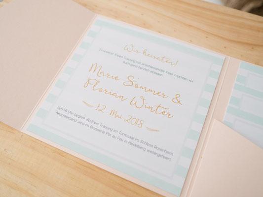 Pocketfold-Einladung in Mint und Peach