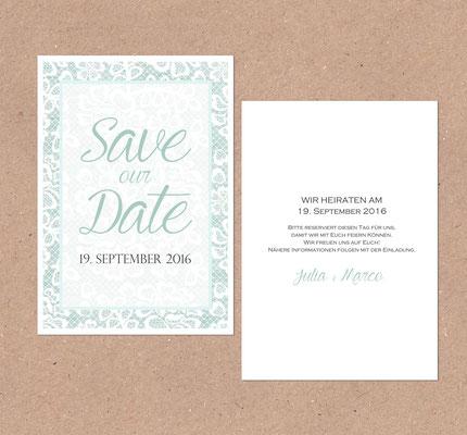 Save the Date Karte (Juhu Papeterie, Spitze, Türkis, Hochzeit, Hochzeitsset, Pocketfoldeinladung)