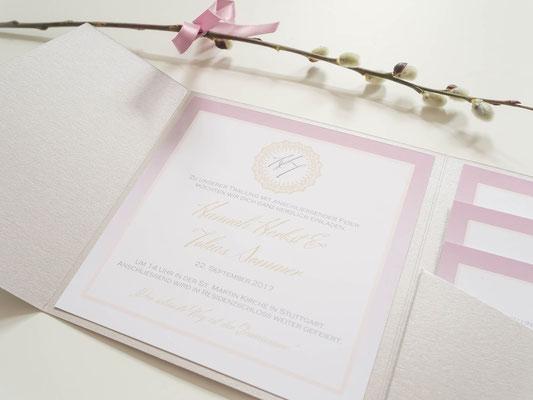 Pocketfold-Einladung (Juhu Papeterie, Hochzeitsset, gold, altrosa, individuell, elegant, Hochzeitseinladung, quadratisch, elegant)