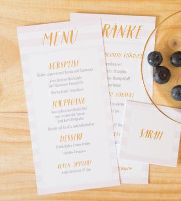 Menükarte, Getränkekarte und Tischkärtchen