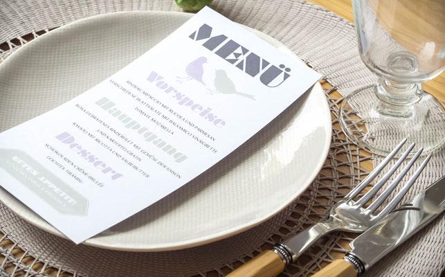 Menükarte (Juhu Papeterie, Hochzeitsset, Kraftpapier, moosgrün, Lavendel, Vintage, Hochzeitseinladung)
