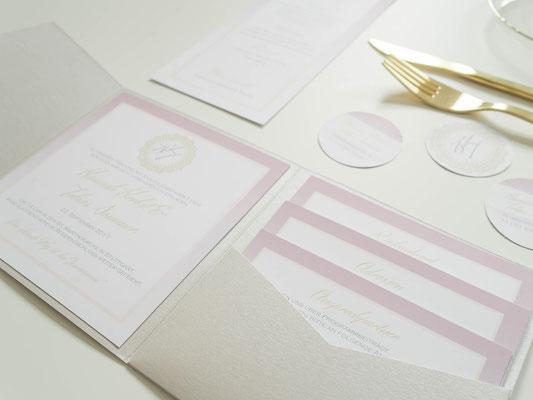 Hochzeitsset -Elegant- (Juhu Papeterie, Hochzeitsset, gold, altrosa, rosa, individuell, elegant, Hochzeitseinladung, quadratisch, elegant, edel)