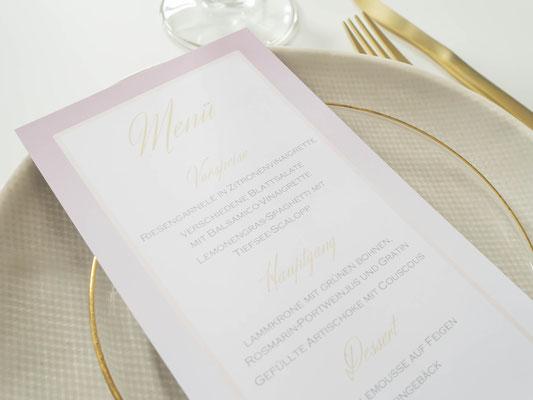 Menükarte (Juhu Papeterie, Hochzeitsset, gold, altrosa, individuell, elegant, Hochzeitseinladung, edel, Pocketfold)
