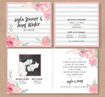 Quadratische Einladungskarte  (Juhu Papeterie, Karlsruhe, Pocketfold-Einladung, Hochzeitsset, mint, apricot, türkis, Blumen, Pfingstrosen, Hochzeitseinladung)