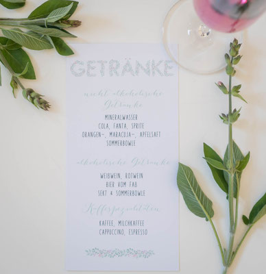 Getränkekarte Design -Blueberry- (Pocketfold-Einladung, Juhu Papeterie, Kraftpapier, mint, schick, Blaubeeren, Hochzeitsset, Hochzeitsdesign)