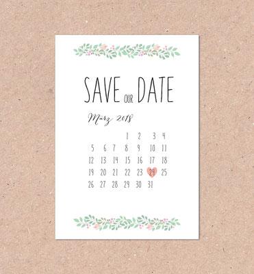 Save the Date (mint, mit Kalender, individuell, berry, vintage,  Hochzeitsset, Hochzeitseinladung)