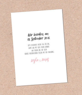 Rückseite Save the Date Karte  (Juhu Papeterie, Karlsruhe, Pocketfold-Einladung, Hochzeitsset, mint, apricot, türkis, Blumen, Pfingstrosen, Hochzeitseinladung)