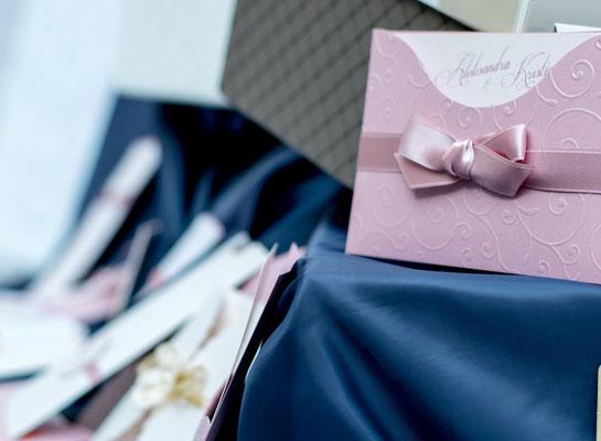 Einladung - Hochzeitsfarben Altrosa und Blau