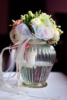 Glasvase für den Brautstrauß