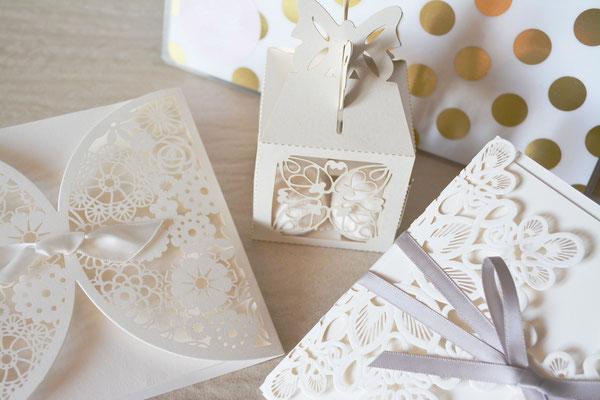 Hochzeitspapeterie im Lasercut-Style
