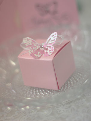 Schmetterlinge auf Gastgeschenken