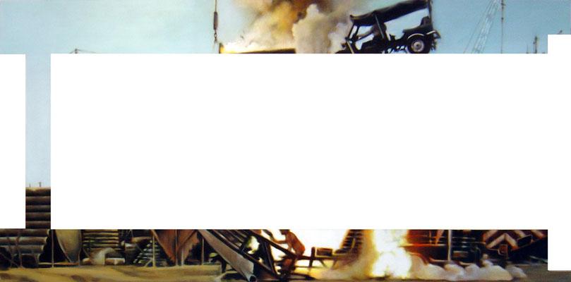 <b>Verkürzt I</b><br />2005<br />Acryl auf Baumwolle<br />250 x 125 cm