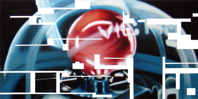 <b>Opferkamera 3</b><br />2004<br />Acryl auf Baumwolle<br />250 x 125 cm