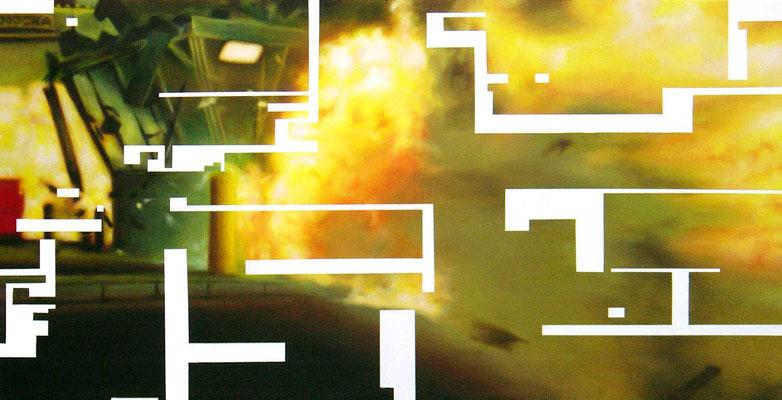<b>Opferkamera 2</b><br />2004<br />Acryl auf Baumwolle<br />250 x 125 cm
