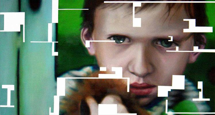 <b>Leise 2</b><br />2004<br />Acryl auf Baumwolle<br />188 x 100 cm