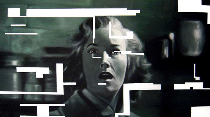 <b>Dunkel 1</b><br />2005<br />Acryl auf Baumwolle<br />186 x 100 cm