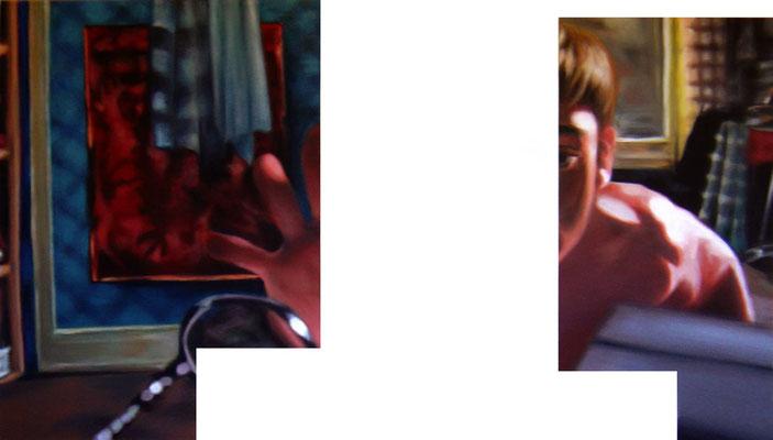 <b>Ausserordentlich allein I</b><br />2005<br />Acryl auf Baumwolle<br />175 x 100 cm